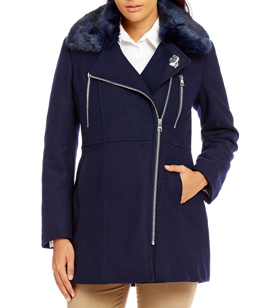KARL LAGERFELD PARIS Asymmetric Wool Coat With Faux Fur Collar