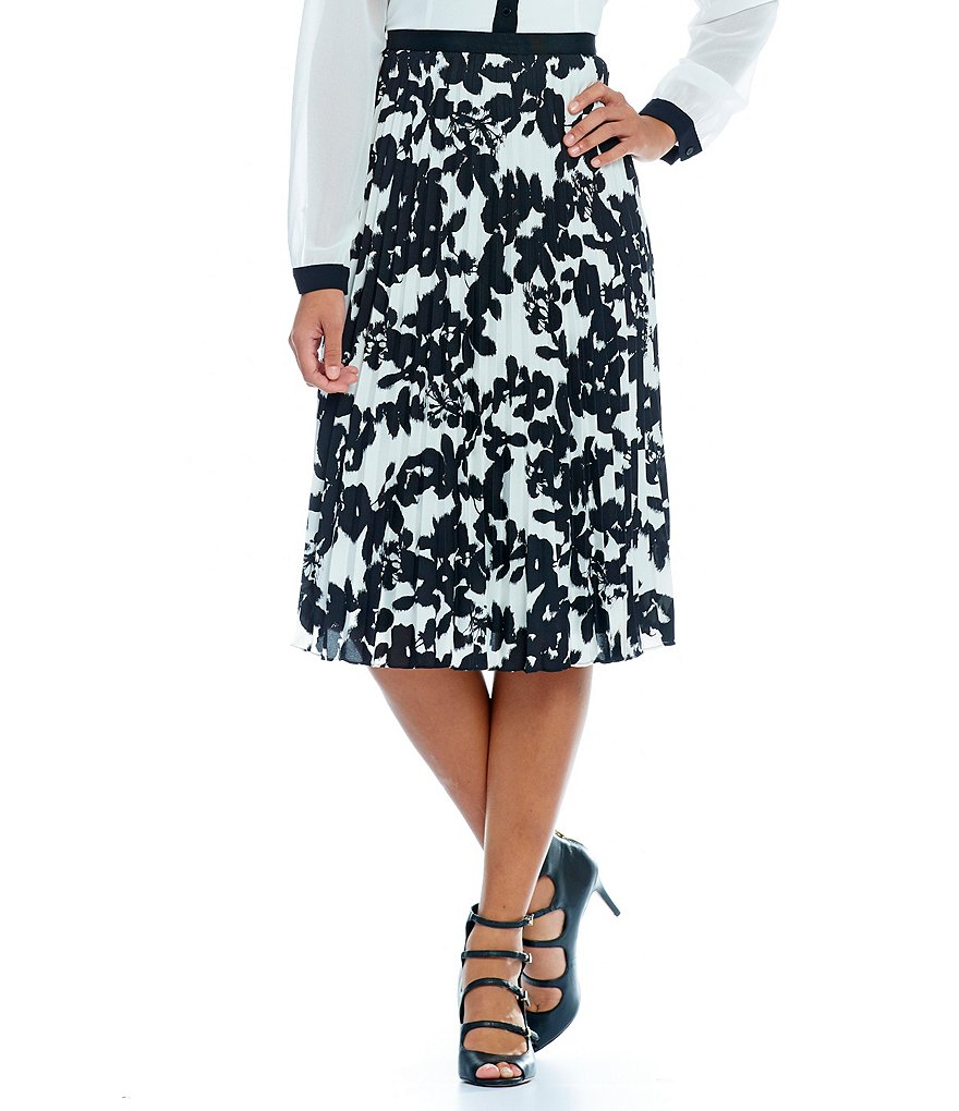 KARL LAGERFELD PARIS Floral Pleated A-Line Full Skirt