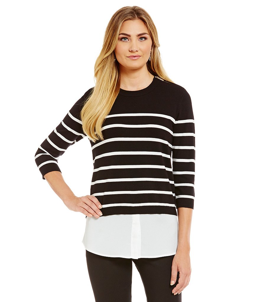 KARL LAGERFELD PARIS Striped Two-fer Top