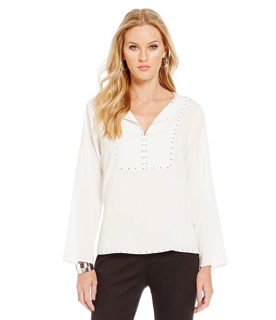 KARL LAGERFELD PARIS Studded Peasant Blouse