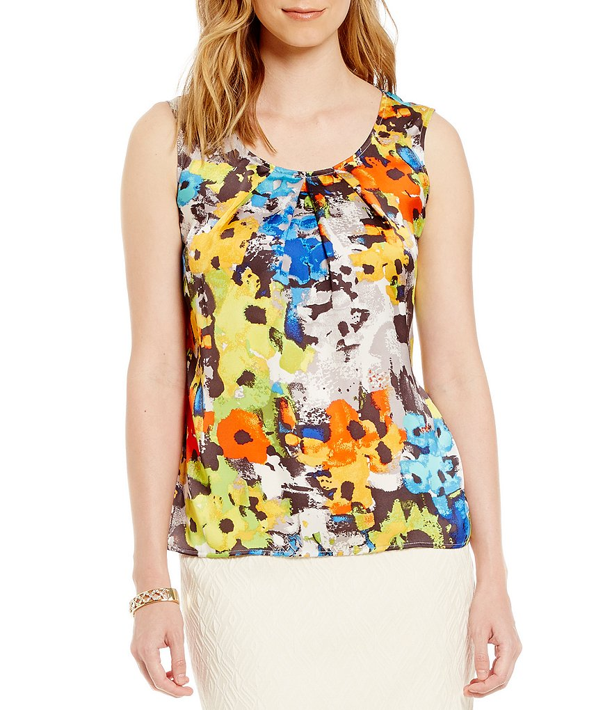 Kasper Floral-Print Pleat-Neck Cami