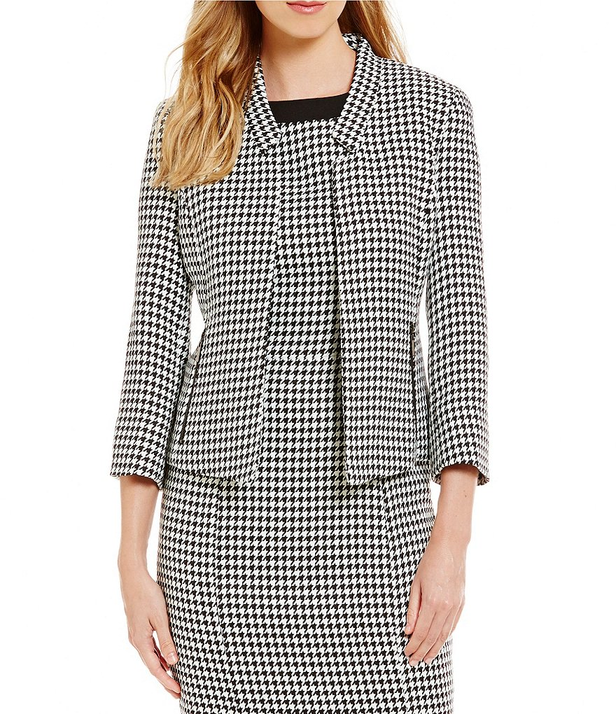 Kasper Houndstooth Zipper Pocket Jacket