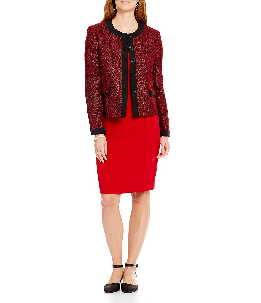 Kasper Petite Long-Sleeve Tweed Button-Front Jacket & Solid Sheath Dress