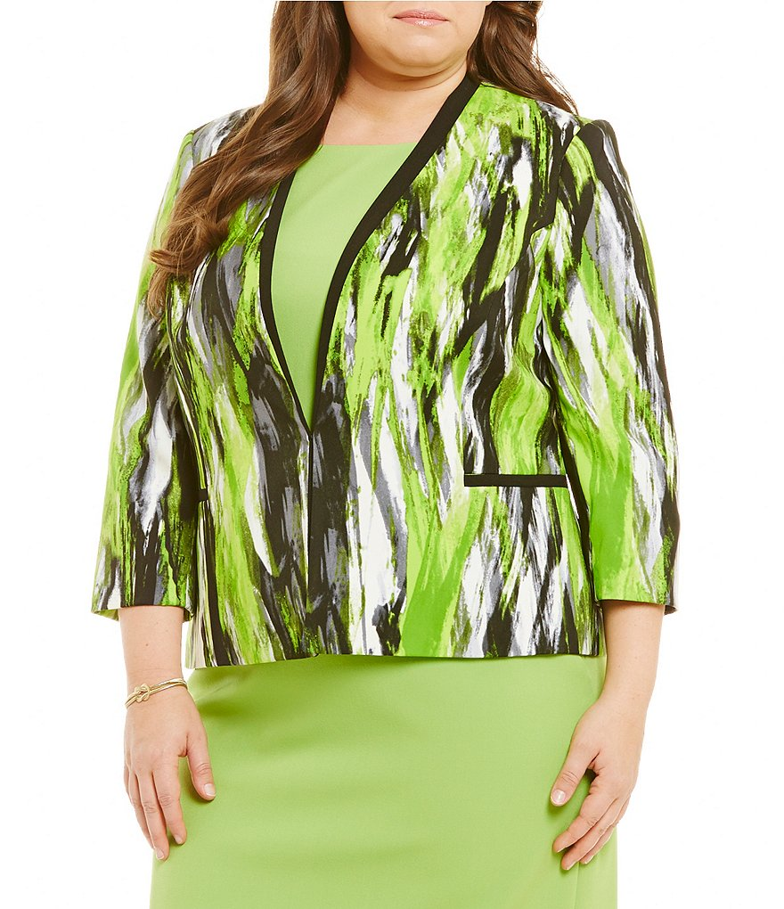 Kasper Plus Abstract Print Jacket