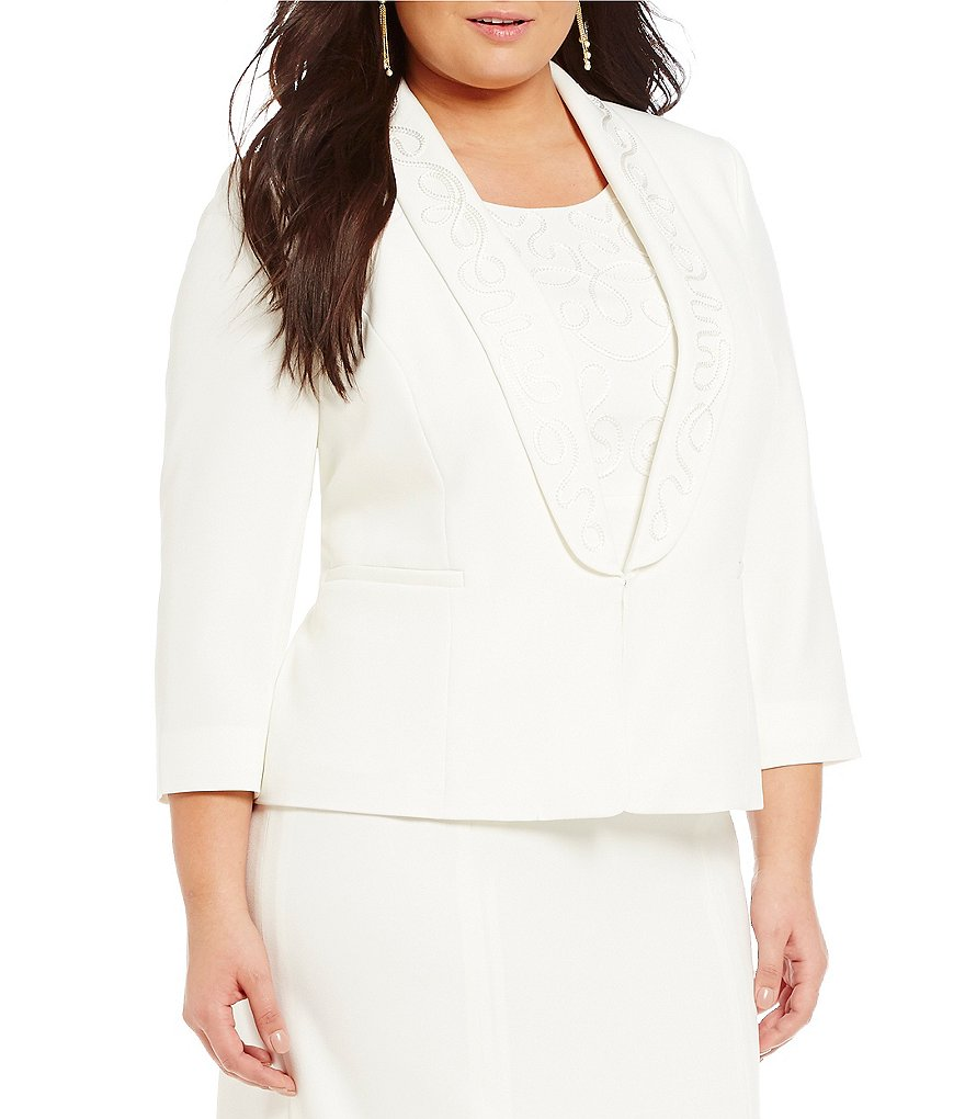 Kasper Plus Stretch Crepe Embroidered Shawl-Collar Jacket