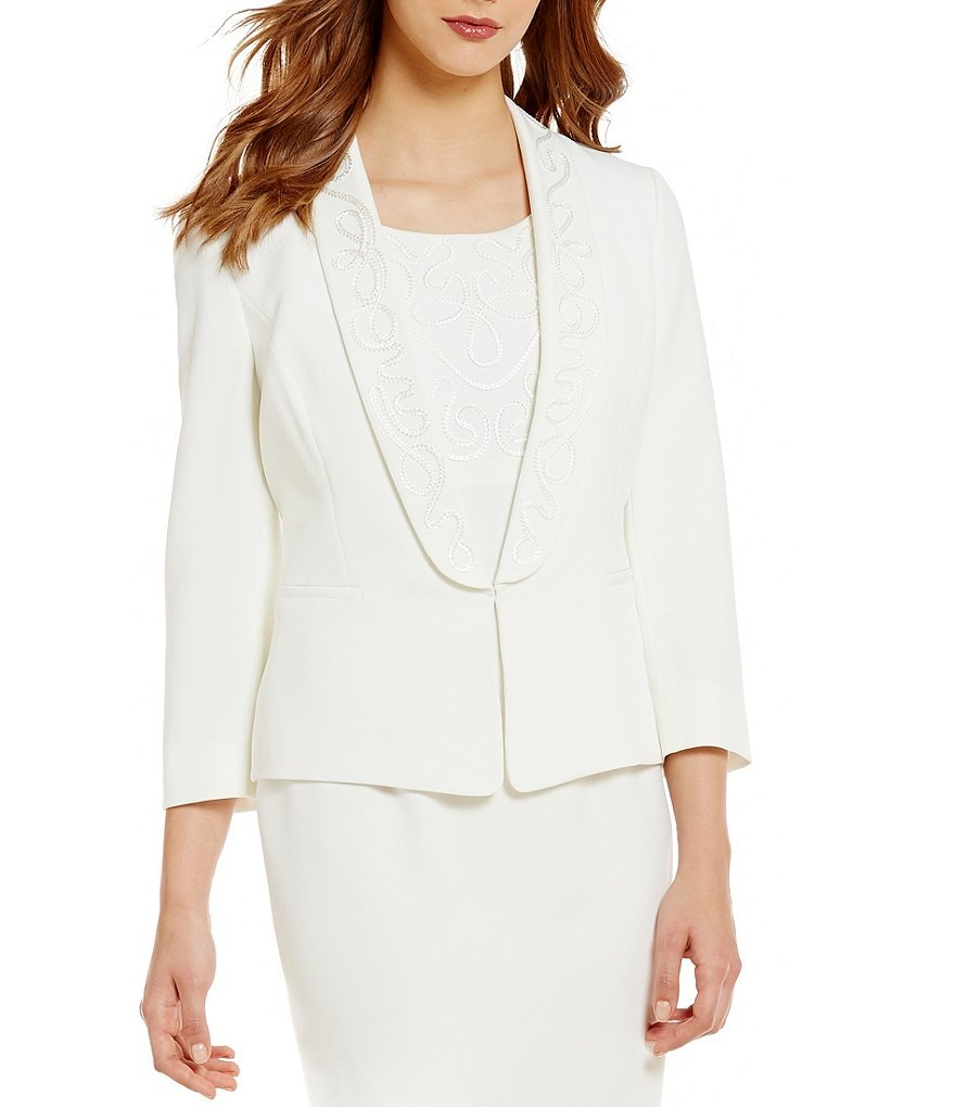 Kasper Shawl Collar 3/4 Sleeve Solid Stretch Crepe Embroidered Jacket
