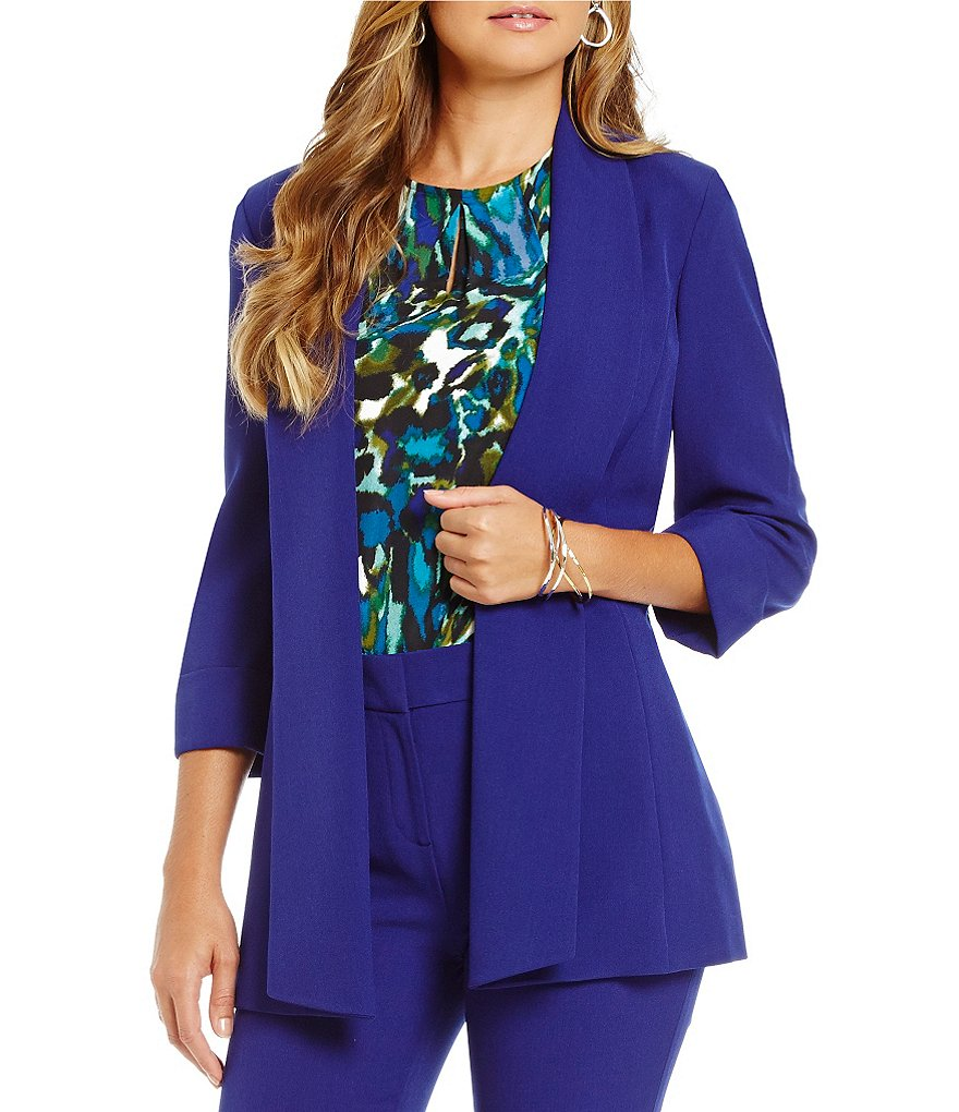Kasper Stretch Crepe Wide Lapel Topper Jacket