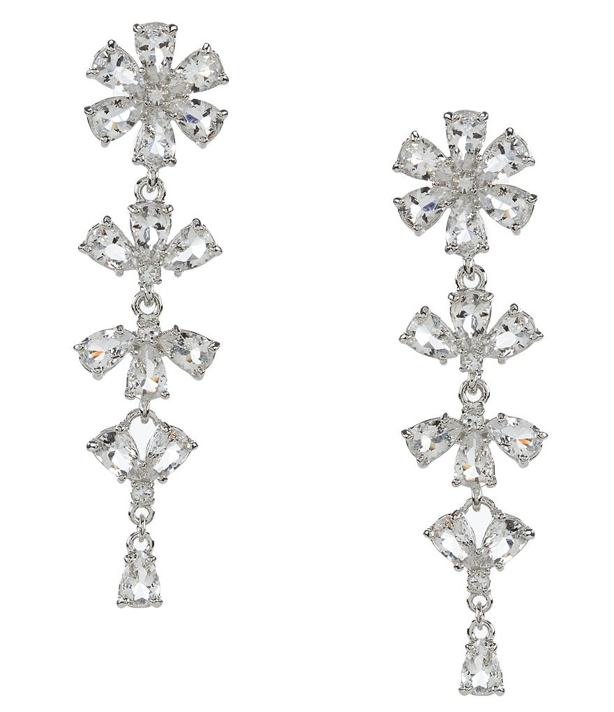 kate spade new york Be Adorned Rhodium and Crystal Linear Earrings