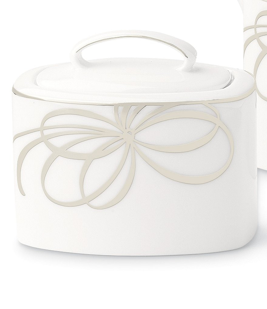 kate spade new york Belle Boulevard Bow Platinum Sugar Bowl with Lid