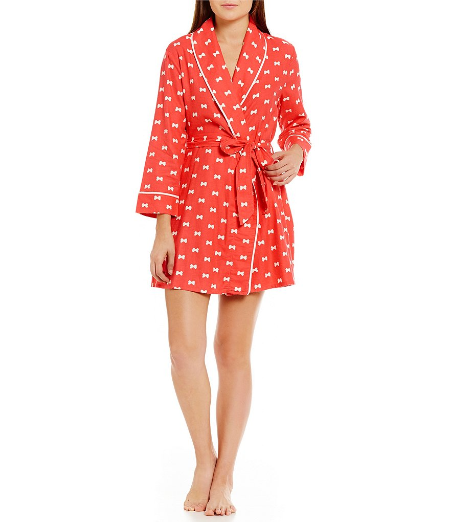 kate spade new york Bow Tie-Print Flannel Wrap Robe