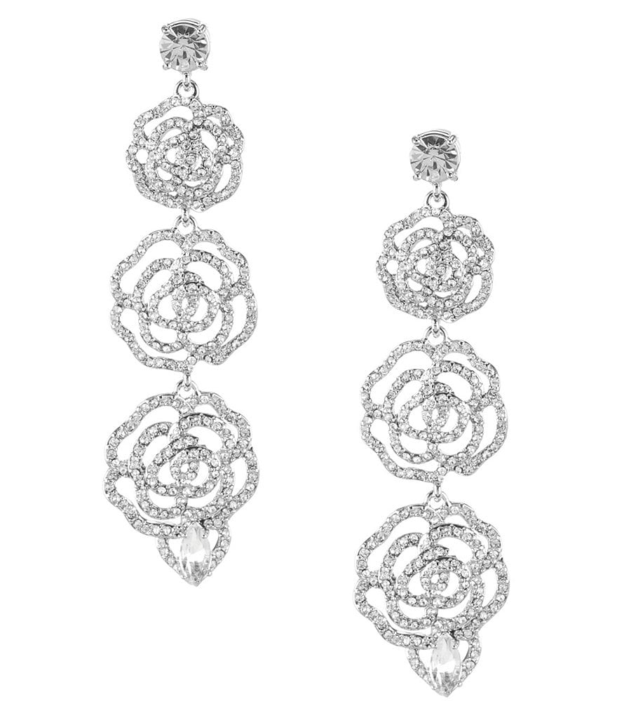 kate spade new york Crystal Rose Linear Statement Earrings