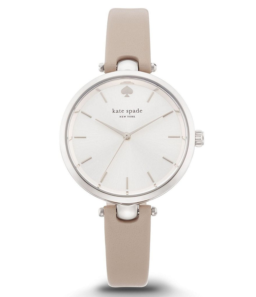 kate spade new york Holland 3 Hand Stainless Steel Grey Leather Strap Watch
