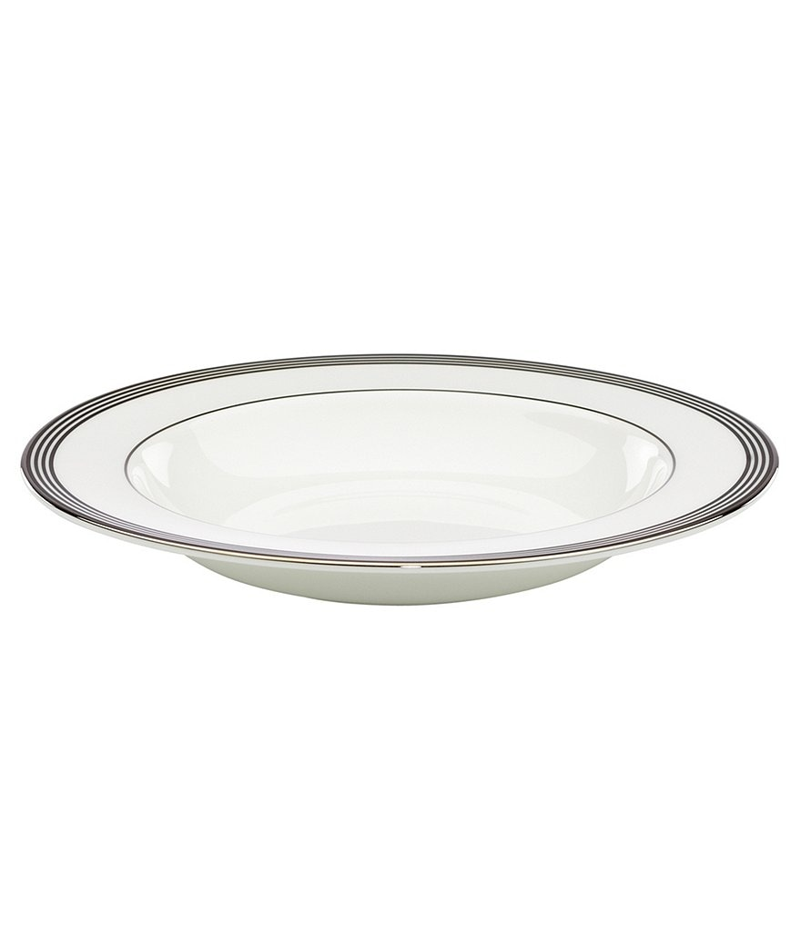 kate spade new york Parker Place Striped Platinum Bone China Rimmed Soup Bowl