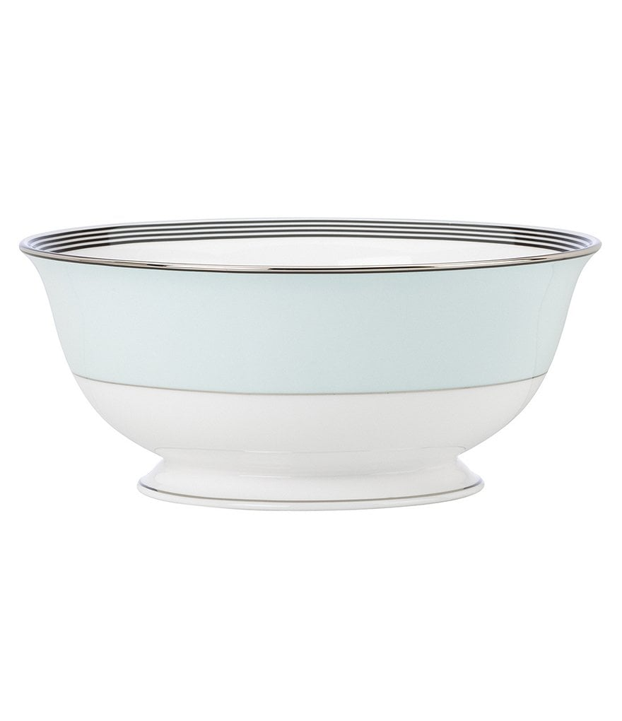 kate spade new york Parker Place Striped Platinum Bone China Serving Bowl