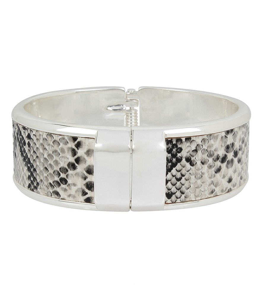 Kenneth Cole New York Snake-Patterned Faux-Leather Hinged Bangle Bracelet