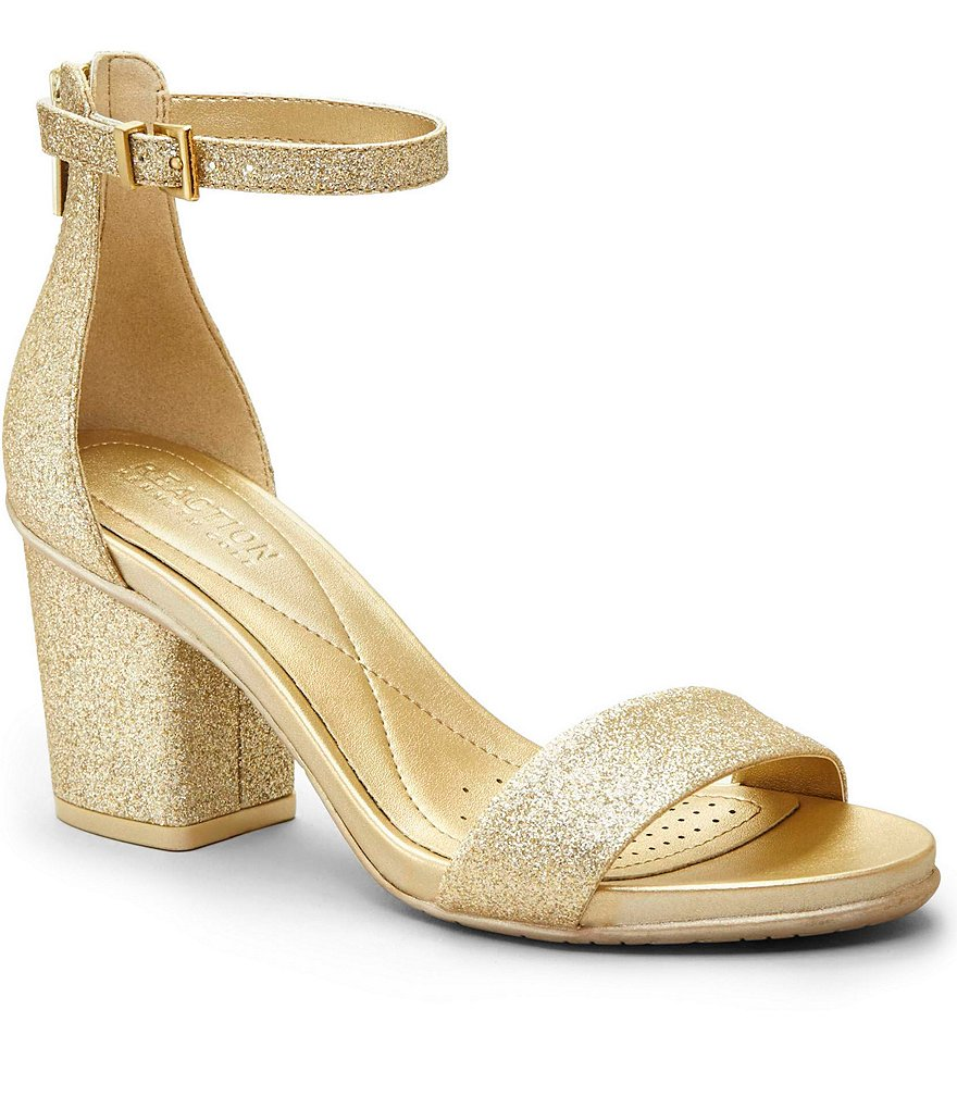 Kenneth Cole Reaction Reed Ing Glitter Ankle Strap Block Heel Dress Sandals