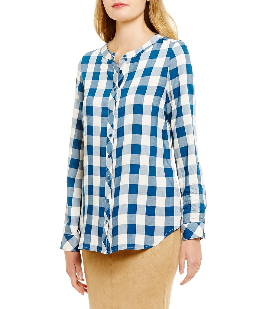 kensie Plaid Woven Mandarin Collar Long Sleeve Top