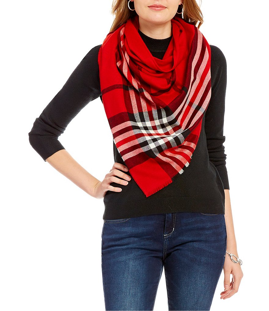 Landry Border Plaid Triangle Scarf