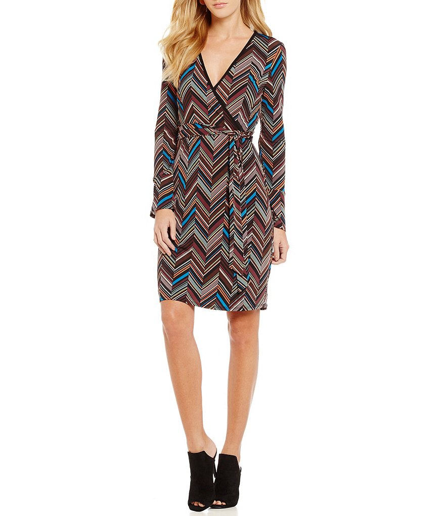 Laundry by Shelli Segal Faux Wrap V-Neck Long Sleeve Printed Dress