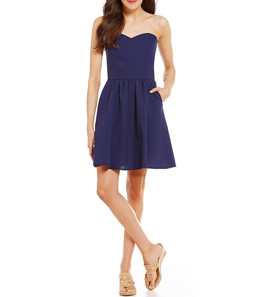 Lauren James Savannah Solid Strapless Fit-And-Flare Dress