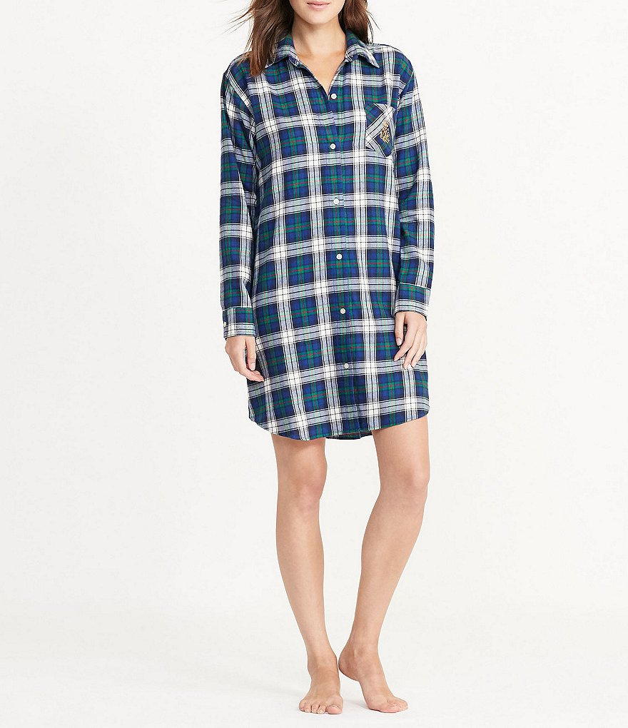 Lauren Ralph Lauren His Shirt Plaid Twill Sleepshirt