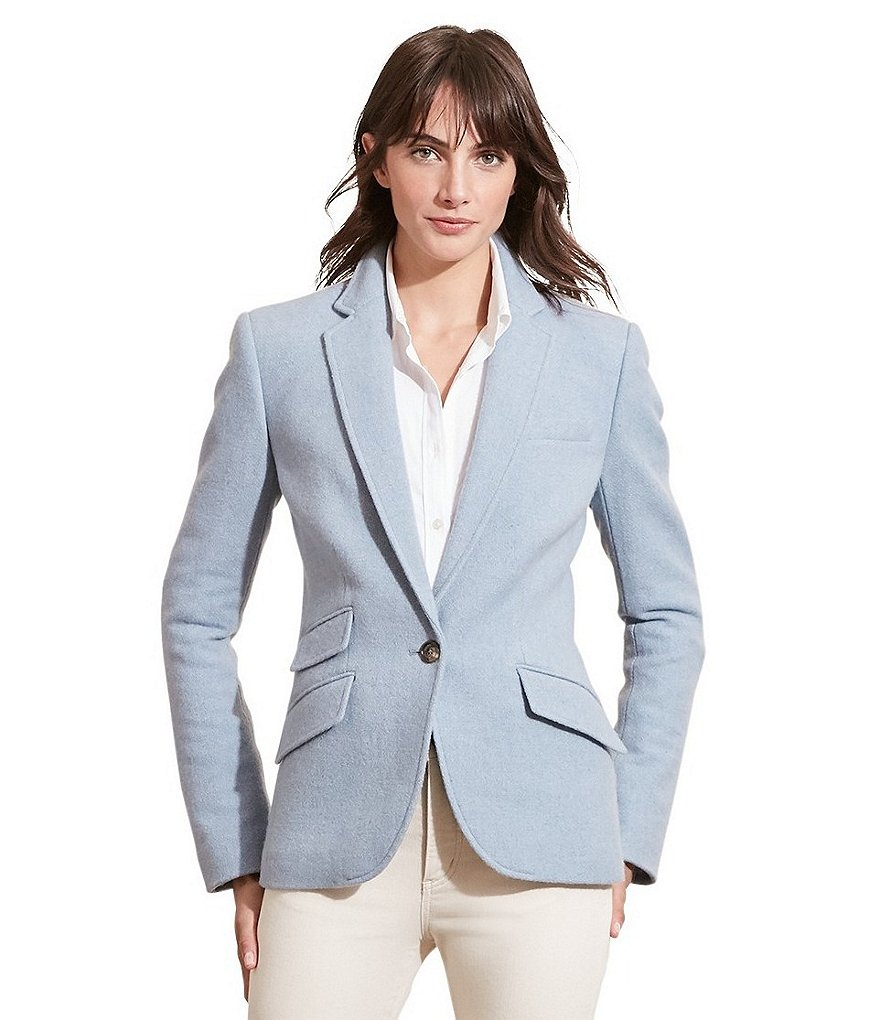 Lauren Ralph Lauren Notch Lapel Merino Wool Jacket