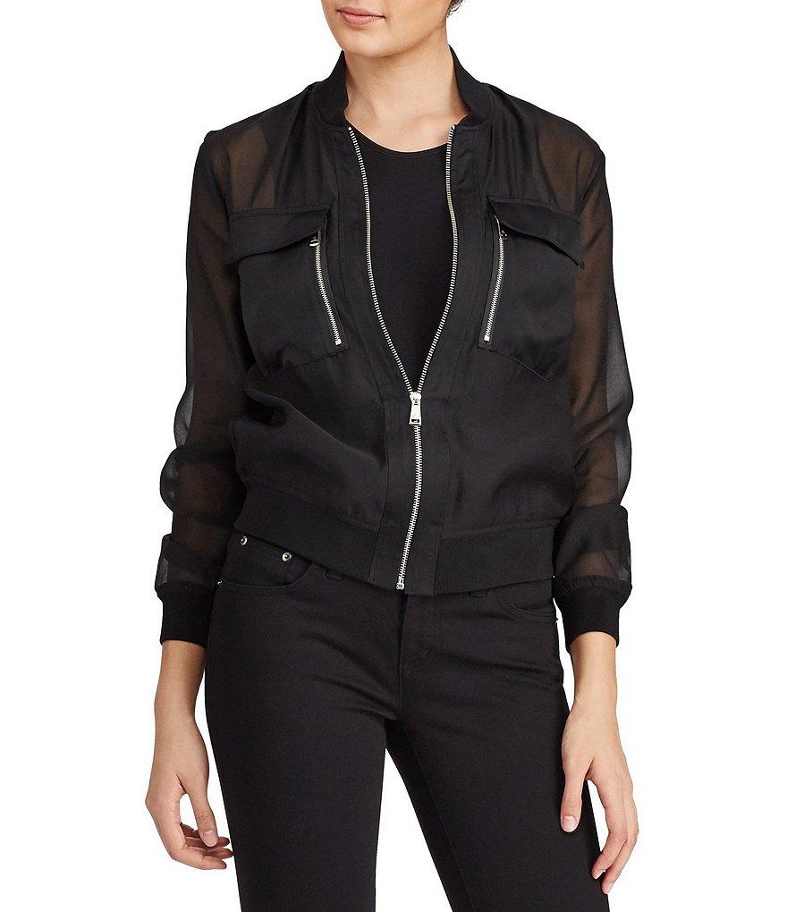 lauren ralph lauren organza bomber jacket dillards. Black Bedroom Furniture Sets. Home Design Ideas