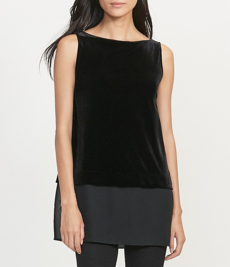 Lauren Ralph Lauren Sheer-Hem Velvet Sleeveless Top