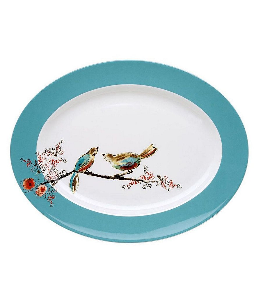 Lenox Chirp Floral & Bird Bone China Oval Platter