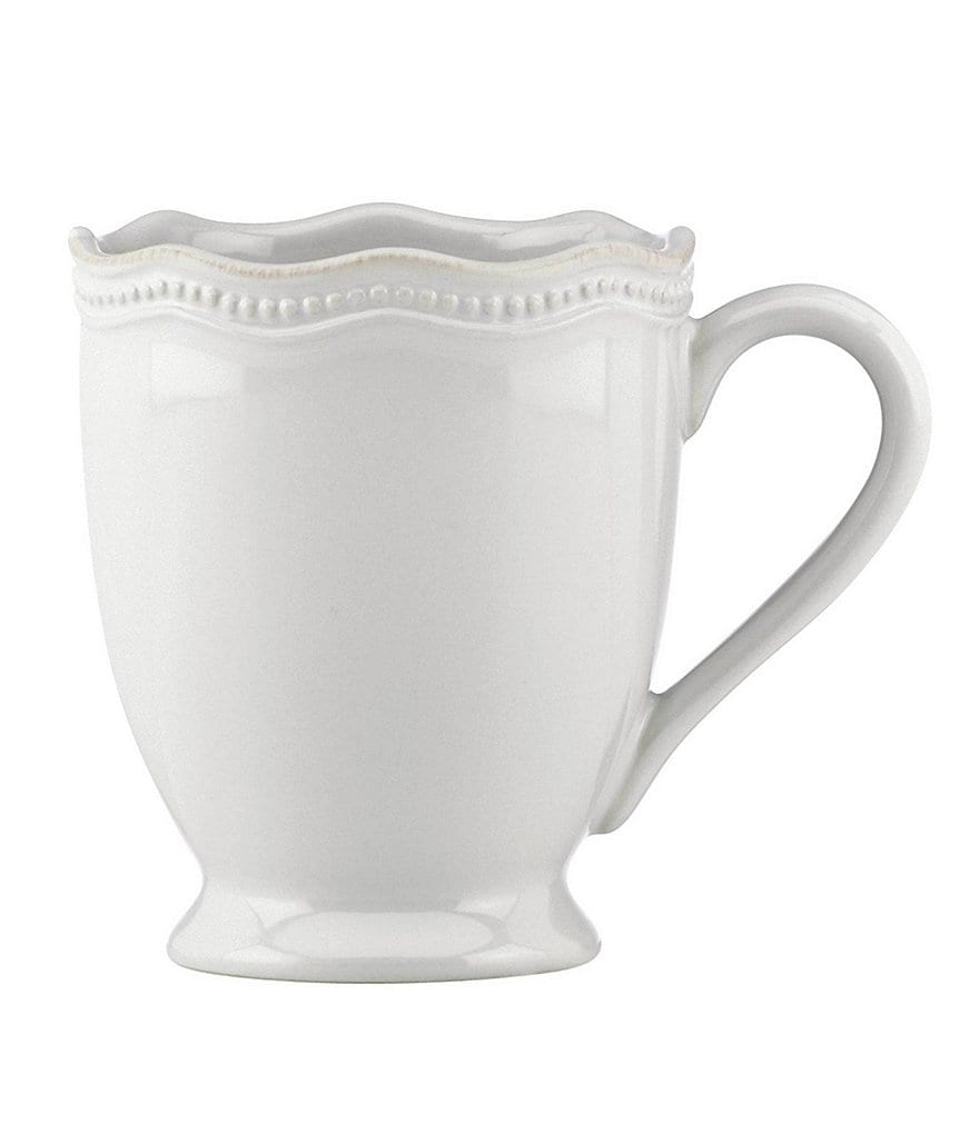 Lenox French Perle Bead Scalloped Stoneware Mug