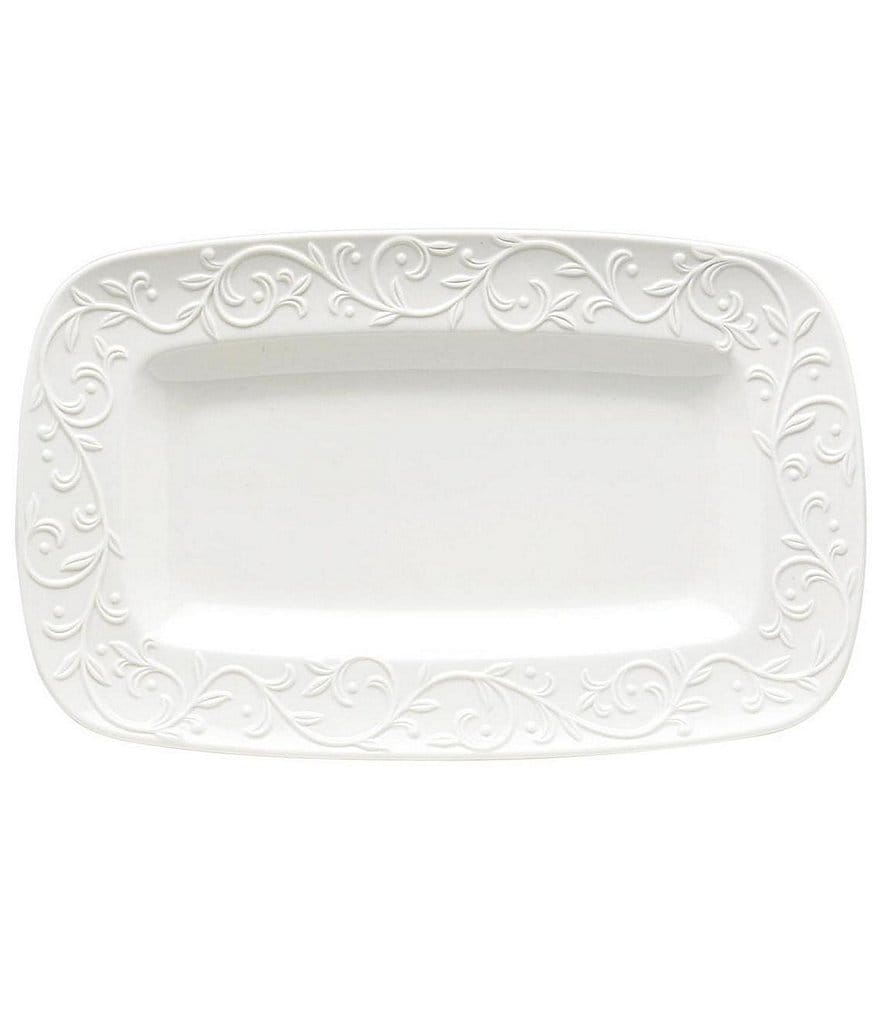 Lenox Opal Innocence Carved Scroll Porcelain Tray