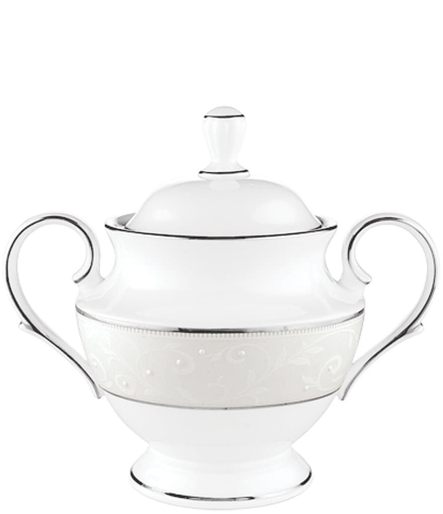 Lenox Opal Innocence Vine & Pearl Platinum Opalescent Bone China Sugar Bowl with Lid