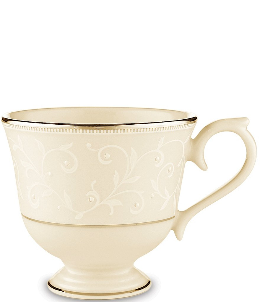 Lenox Pearl Innocence Scroll Vine Platinum Bone China Cup