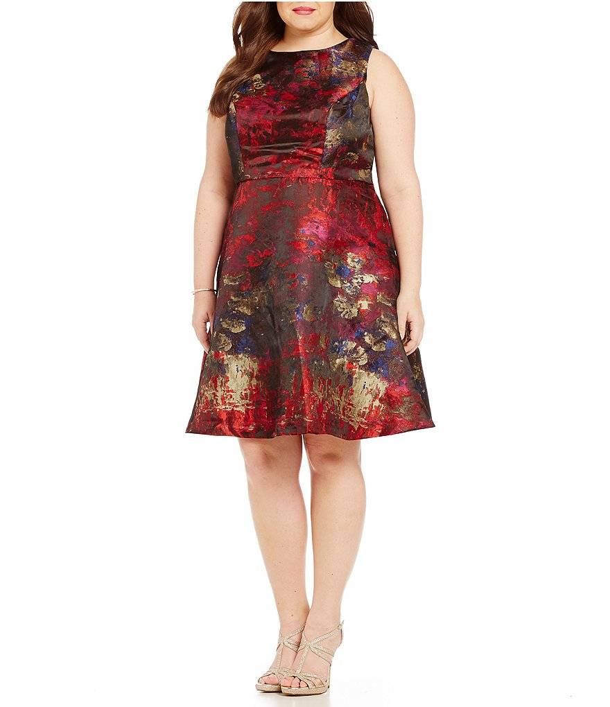 Leslie Fay Plus Sleeveless Printed Jacquard Fit and Flare Dress