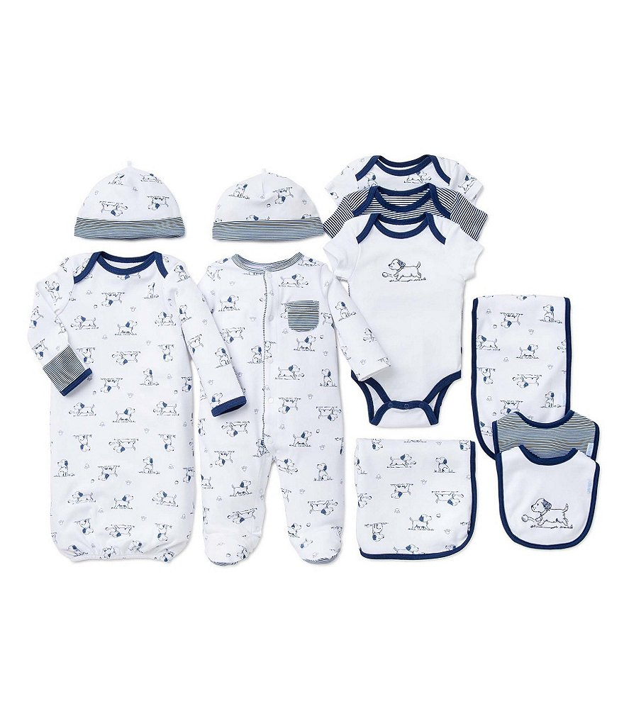 Little Me Baby Boys Preemie-9 Months Footed Coverall/Hat Set, Bib/Burpcloth Set, Gown, & Bodysuit Layette Collection