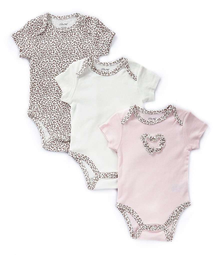 Little Me Baby Girls Newborn-9 Months Baby Leopard Bodysuits 3-Pack