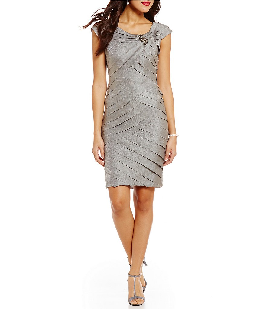 London Times Portrait Collar Shimmer Shutter Dress