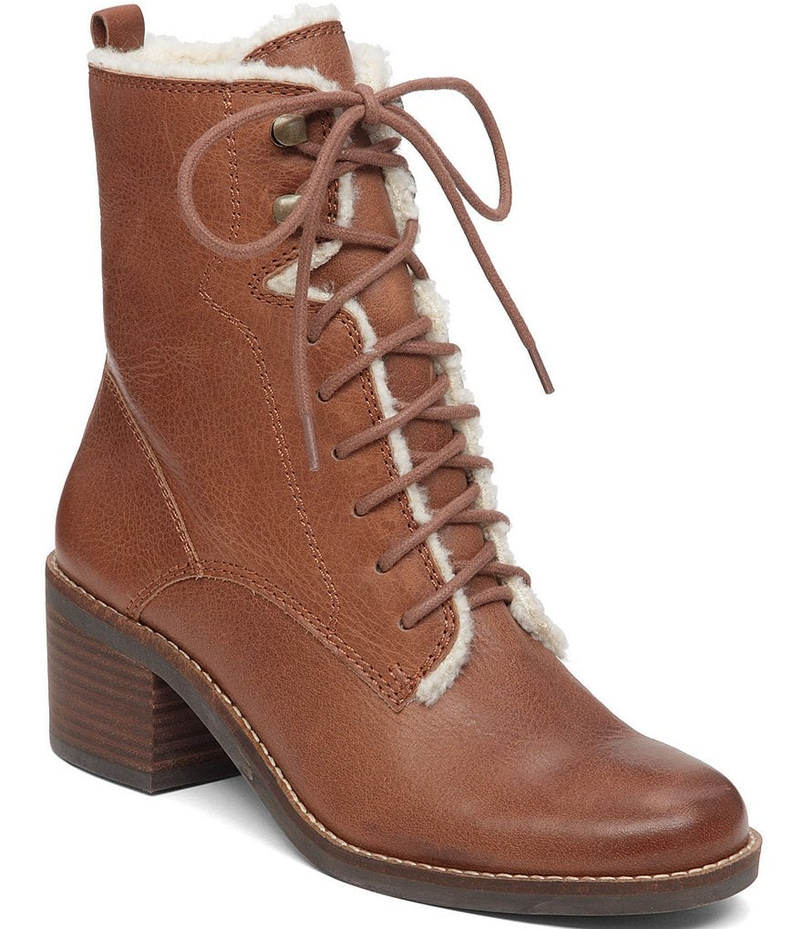 Lucky Brand Cambreen Faux Shearling Lined Lace Up Leather Boots