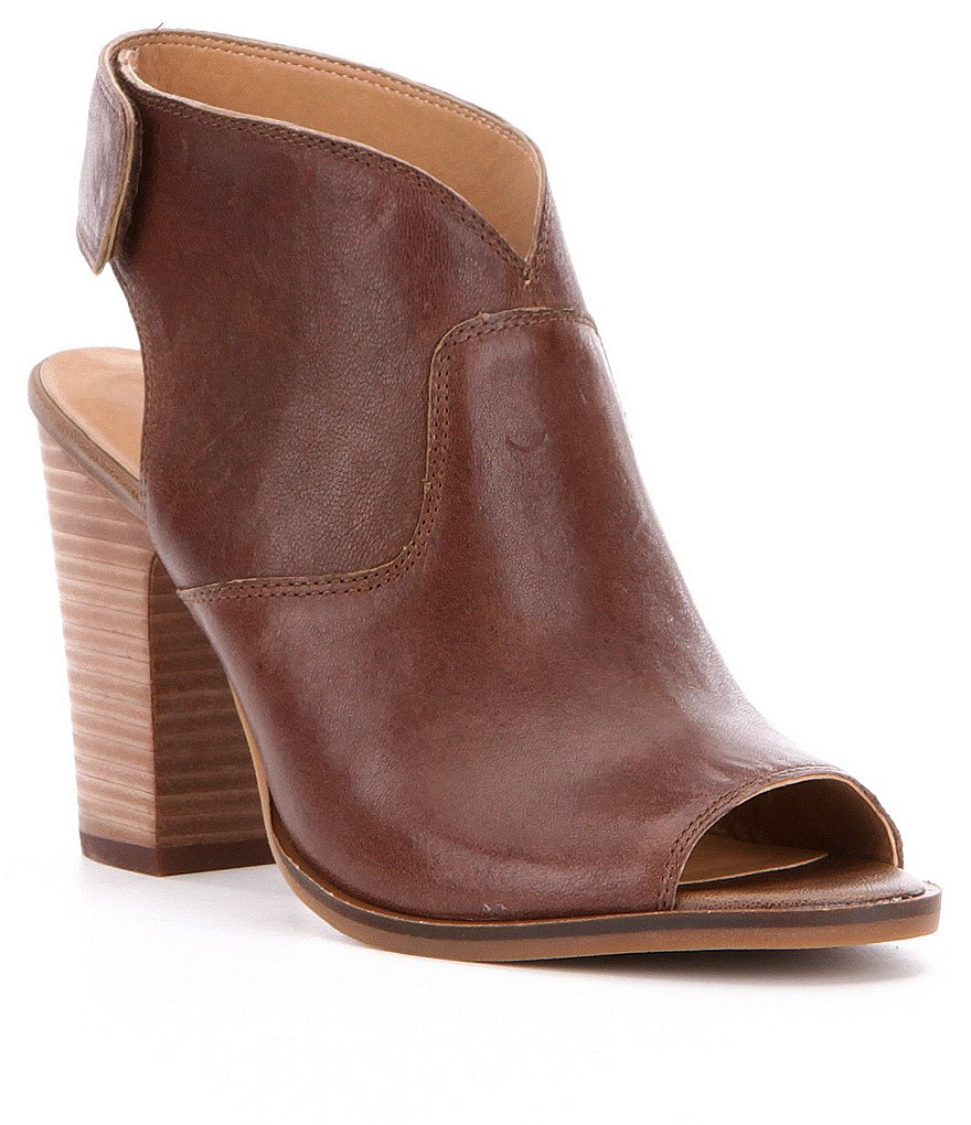 Lucky Brand Lizette Leather Peep Toe Booties