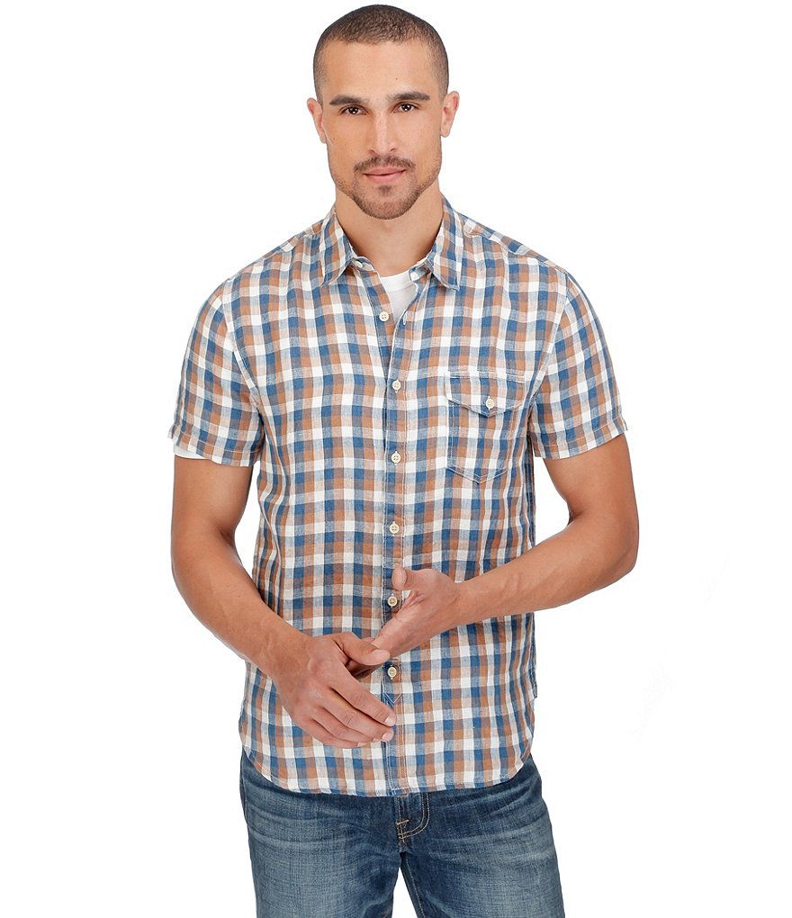 Lucky Brand Plaid One Pocket Flap Short-Sleeve Shirt