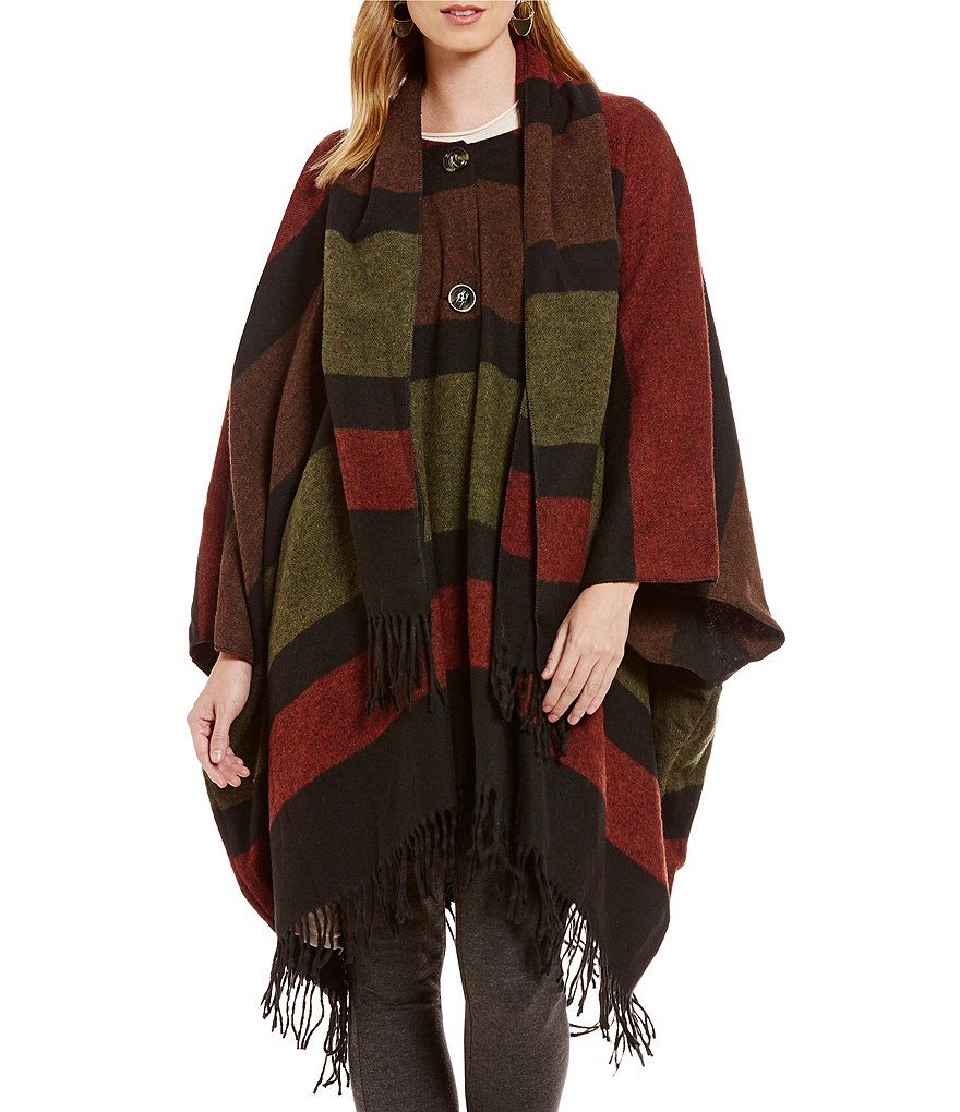 M Made In Italy Scoop Neck Fringed Poncho