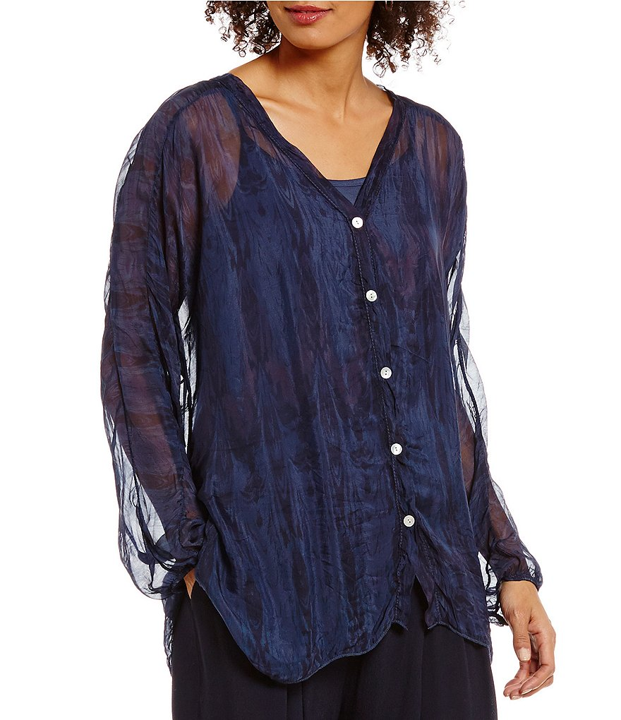 M Made In Italy V-Neck Silk Balloon Sleeve Tunic
