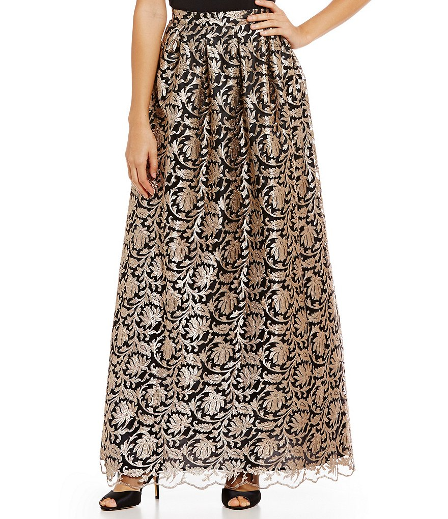 Marina Metallic Brocade A-line Ball Skirt