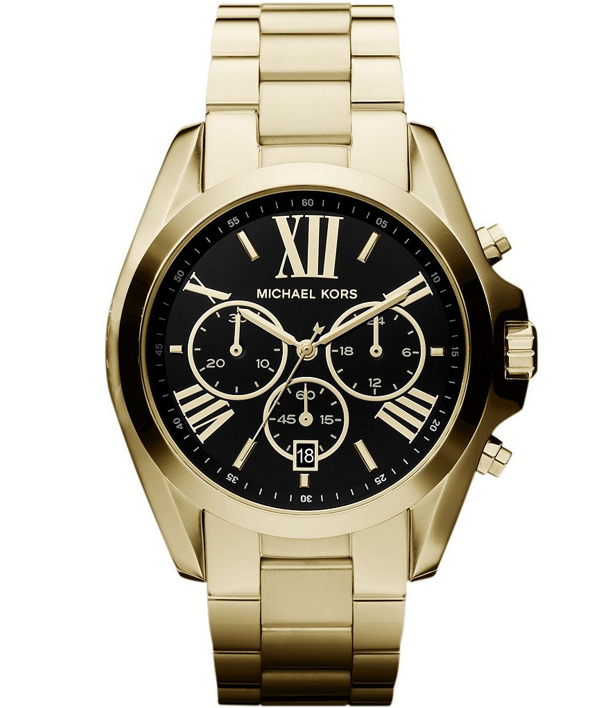 Michael Kors Bradshaw Plated Stainless Steel 3 Hand Chronograph Watch