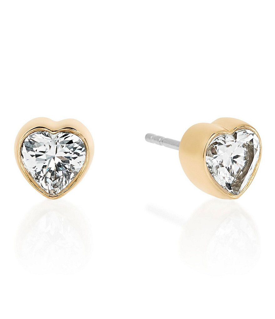 Michael Kors Cubic Zirconia Heart Stud Earrings