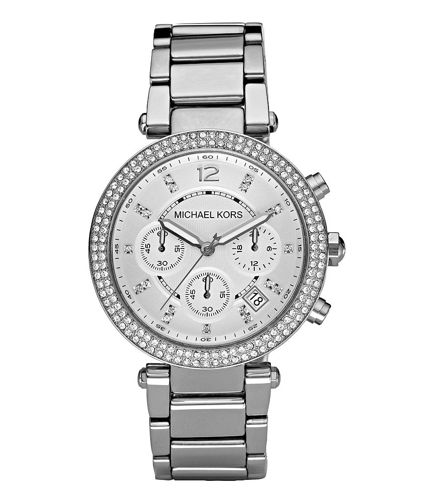 Michael Kors Parker Silver-Dial Stainless Steel Chronograph Watch