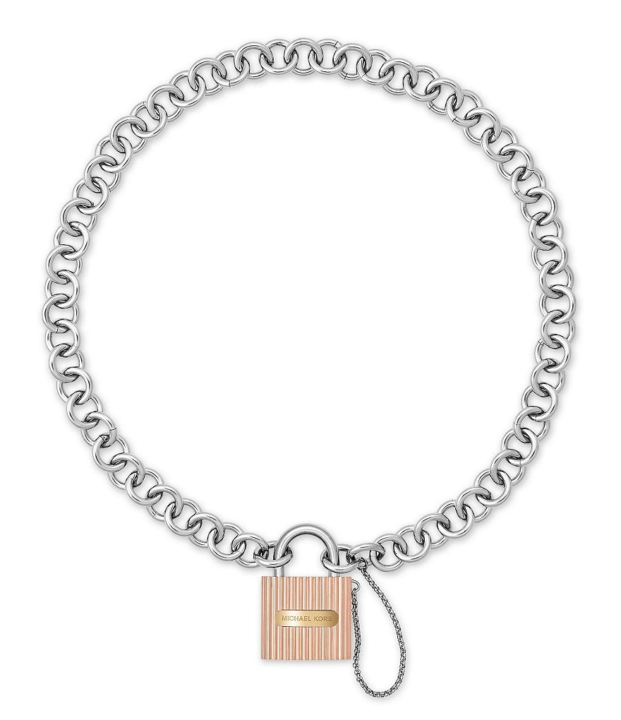 Michael Kors Ridged Padlock Statement Necklace