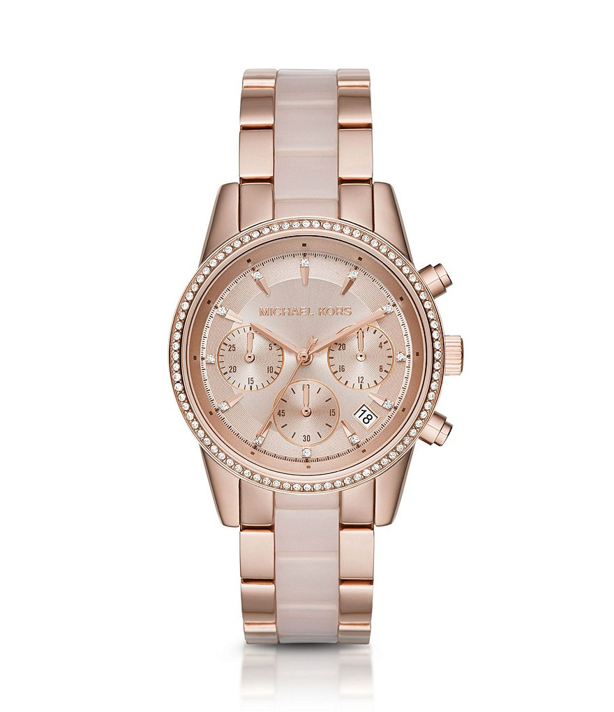 Michael Kors Ritz Rose Gold-Tone & Blush Stainless Steel Chronograph Bracelet Watch