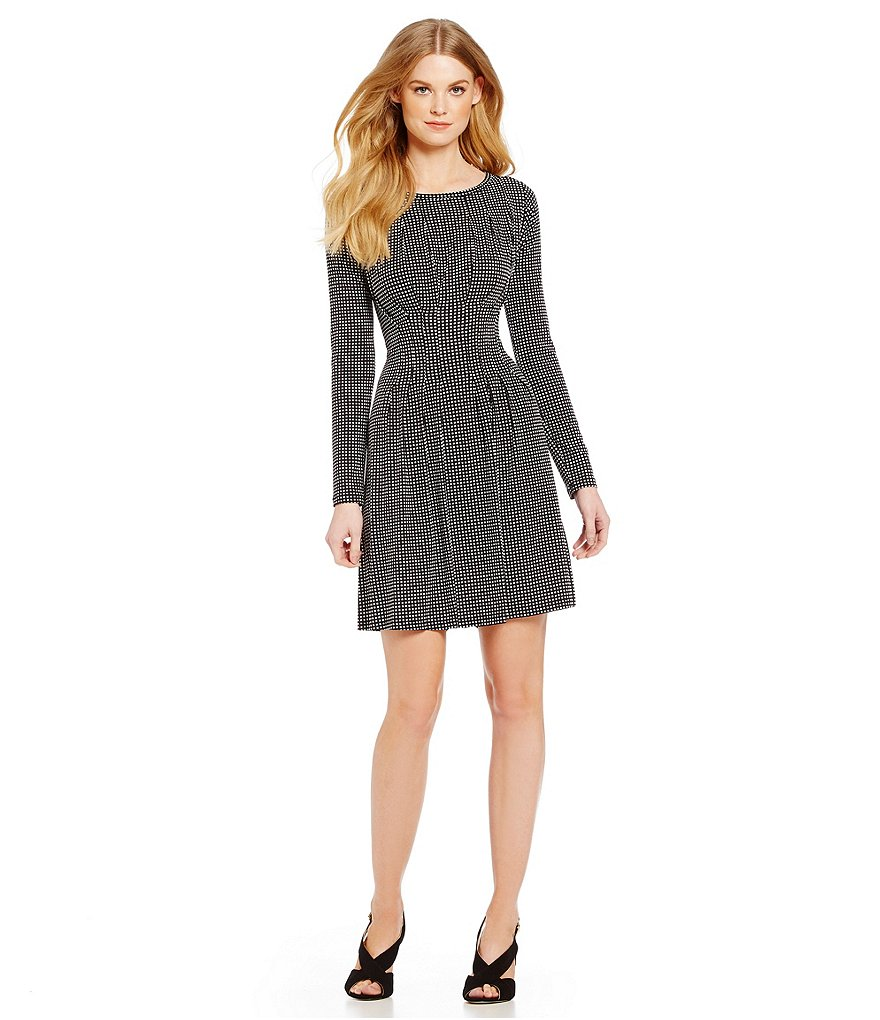 MICHAEL Michael Kors Geometric Dot Print Matte Jersey Pleated Dress