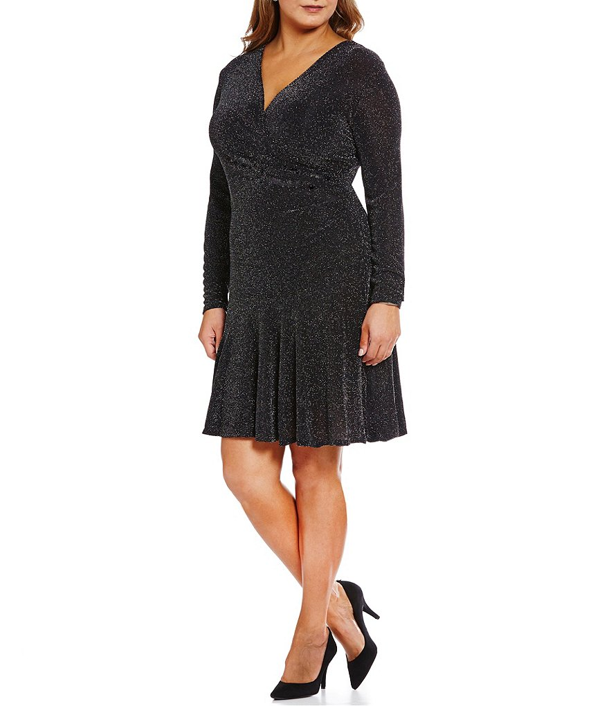 MICHAEL Michael Kors Plus Metallic Dot Mesh Knit Faux-Wrap Flounce Hem Dress